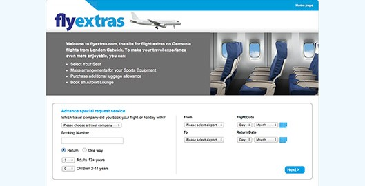 Fly Extras website